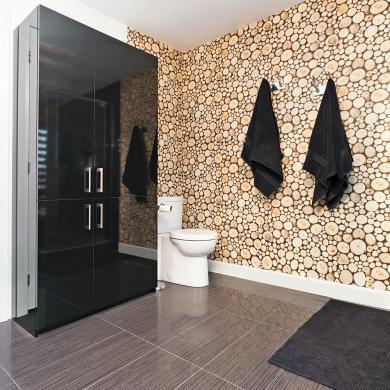 oui au papier peint m me dans la salle de bain salle de bain inspirations d coration et. Black Bedroom Furniture Sets. Home Design Ideas