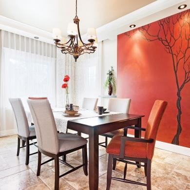 belle murale dans la salle manger salle manger inspirations d coration et r novation. Black Bedroom Furniture Sets. Home Design Ideas