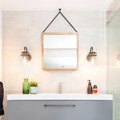 Miroirs et appliques la salle de bain c 39 est magique for Prix renovation salle de bain 7m2