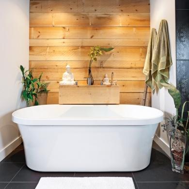 une salle de bain zen et enveloppante salle de bain inspirations d coration et r novation. Black Bedroom Furniture Sets. Home Design Ideas