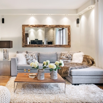 salon douillet aux mati res brutes salon inspirations. Black Bedroom Furniture Sets. Home Design Ideas