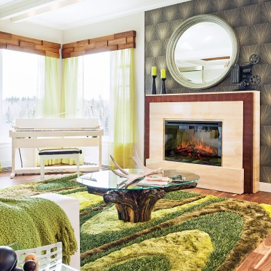 Foyer lectrique dans un salon clectique salon for Foyer salon de provence