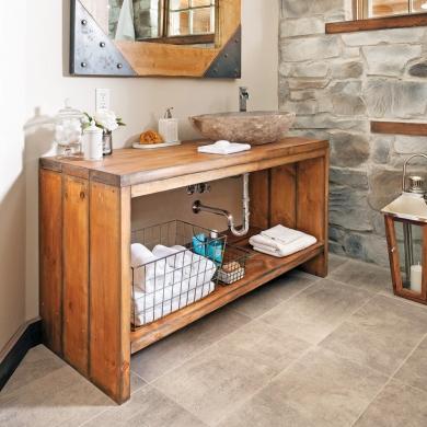 Cr er un meuble lavabo en bois en tapes d coration et - Creer un meuble tv ...
