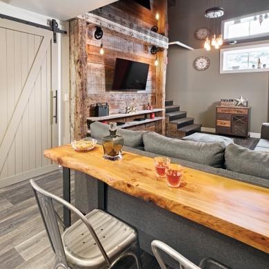 coin t l 100 rustique au sous sol sous sol avant apr s d coration et r novation. Black Bedroom Furniture Sets. Home Design Ideas