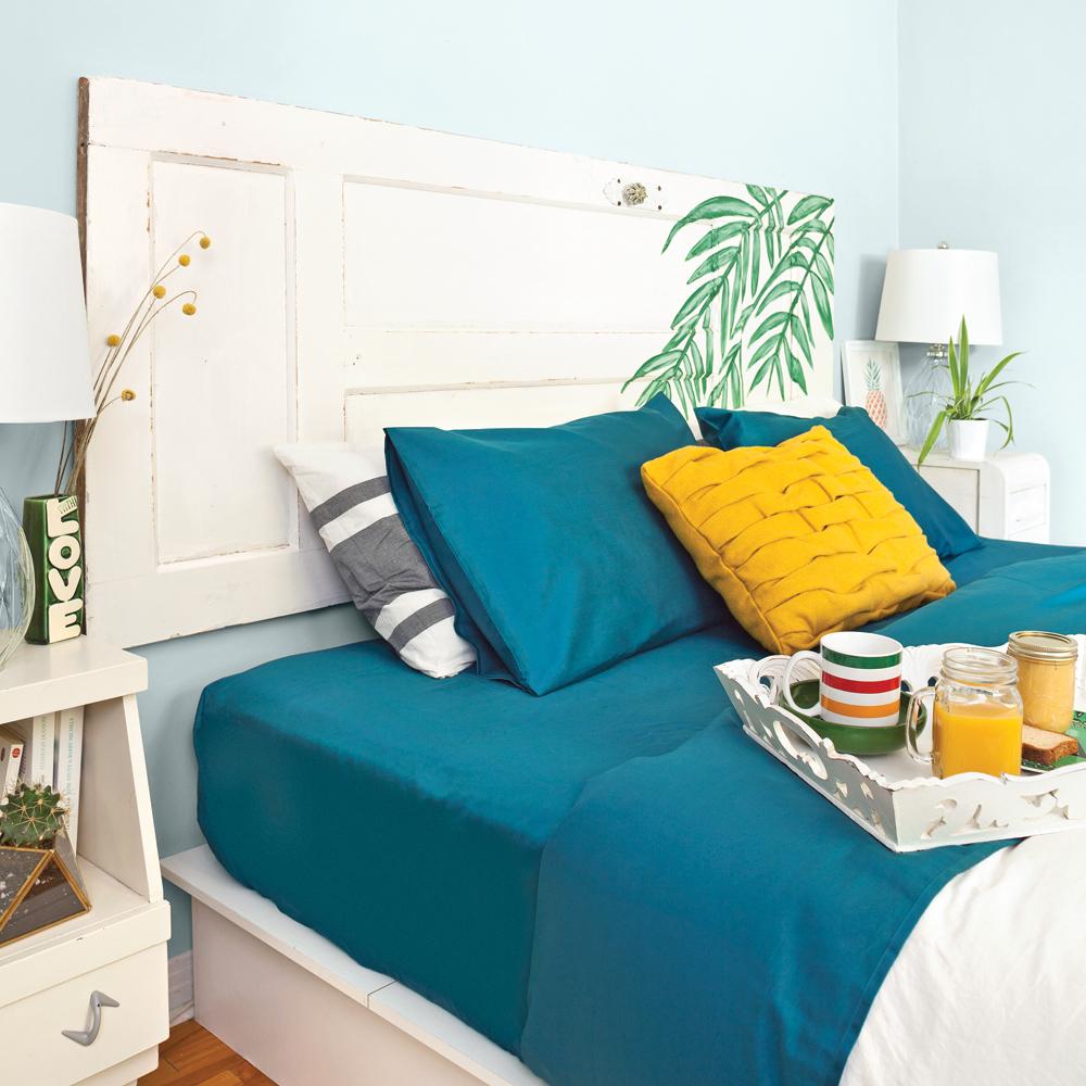 une t te de lit tropico rustique chambre avant apr s d coration et r novation pratico. Black Bedroom Furniture Sets. Home Design Ideas