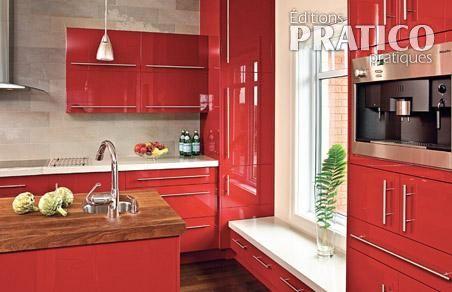Rouge passion pour la cuisine cuisine inspirations for Armoire de cuisine rouge