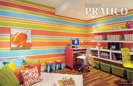 Peindre un mur ray en tapes d coration et r novation - Peinture design sur mur ...
