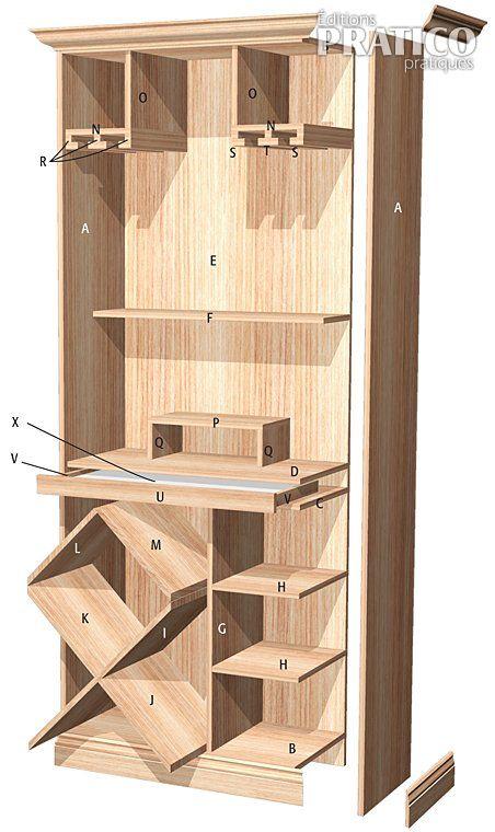 Fabriquer un bar plans et patrons d coration et r novation pratico pratique - Recouvrir armoire melamine ...
