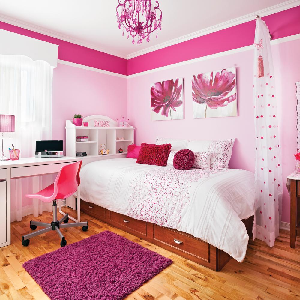 la chambre en rose chambre inspirations d coration et r novation pratico pratique. Black Bedroom Furniture Sets. Home Design Ideas