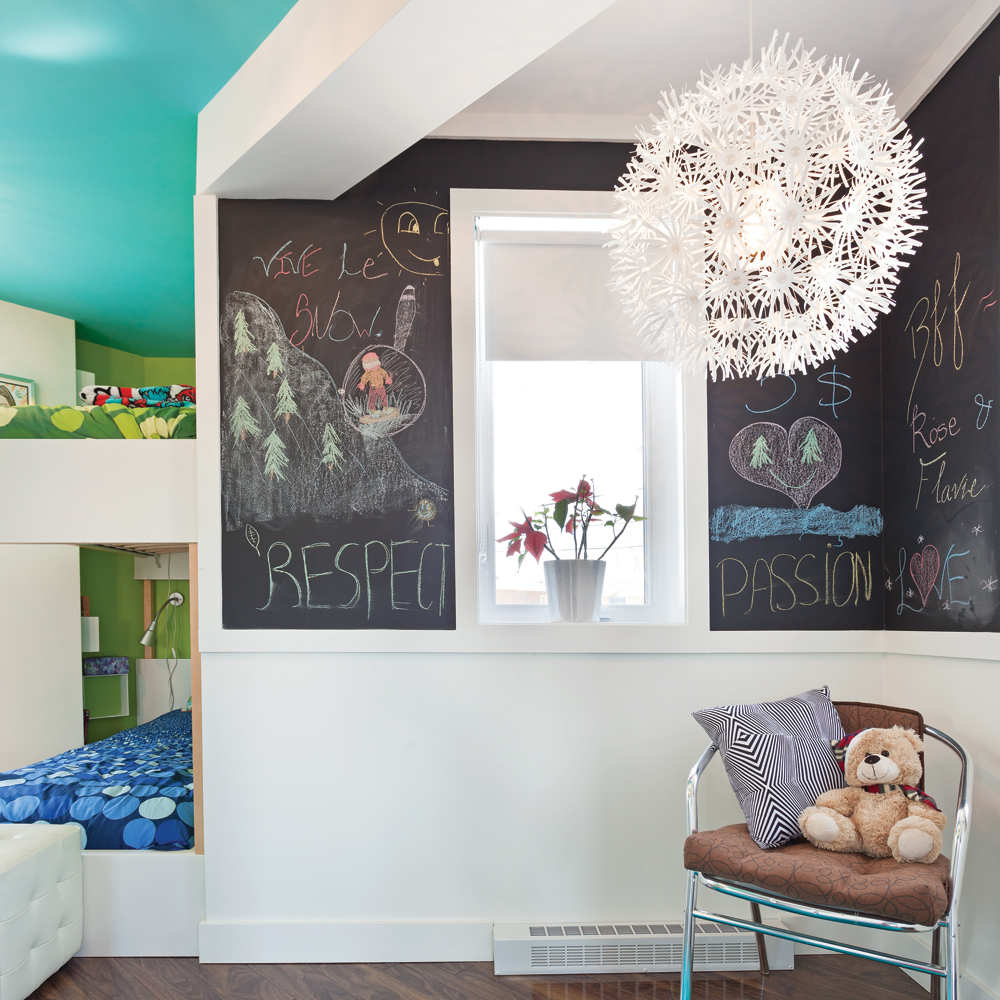 Peinture noire effet tableau pour la chambre d 39 enfant - Peinture pour chambre d enfant ...