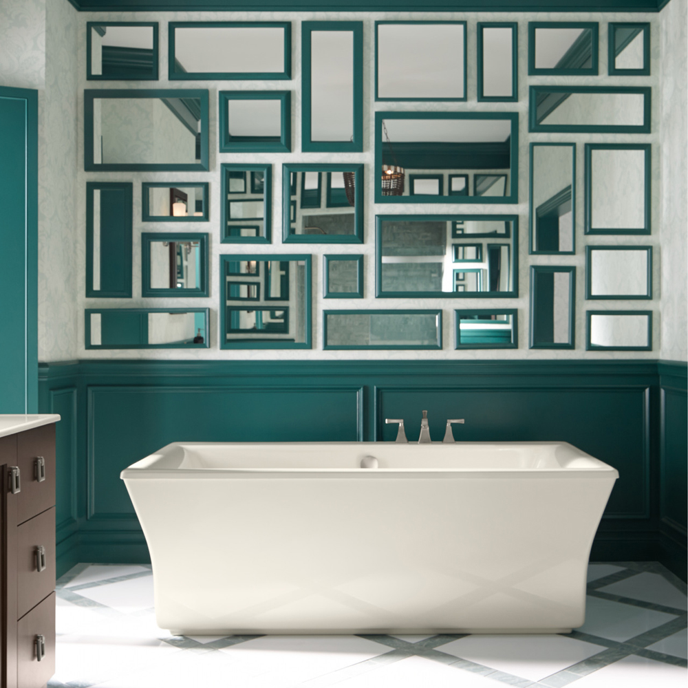 une murale de miroirs pour la salle de bain salle de bain inspirations d coration et. Black Bedroom Furniture Sets. Home Design Ideas