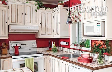 Cuisine au look champ tre je d core - Peinture d armoire de cuisine ...