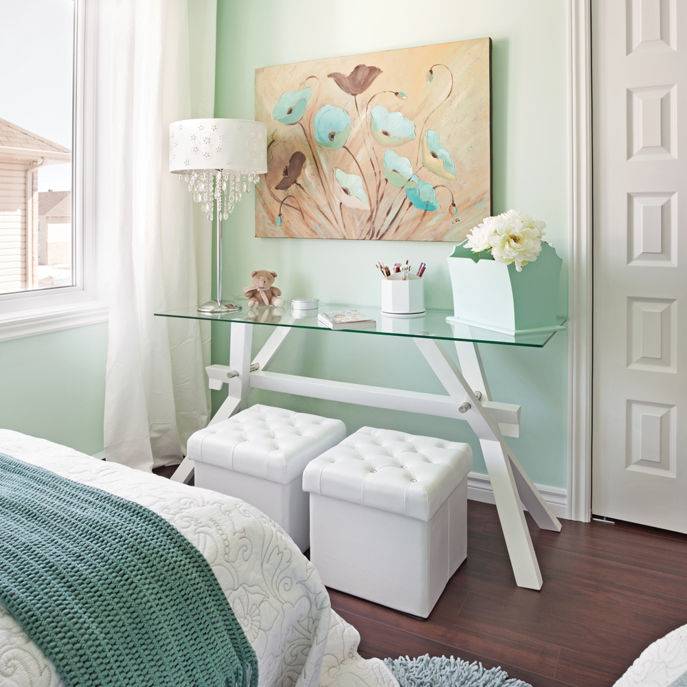 vague de menthe et de turquoise dans la chambre chambre inspirations d coration et. Black Bedroom Furniture Sets. Home Design Ideas