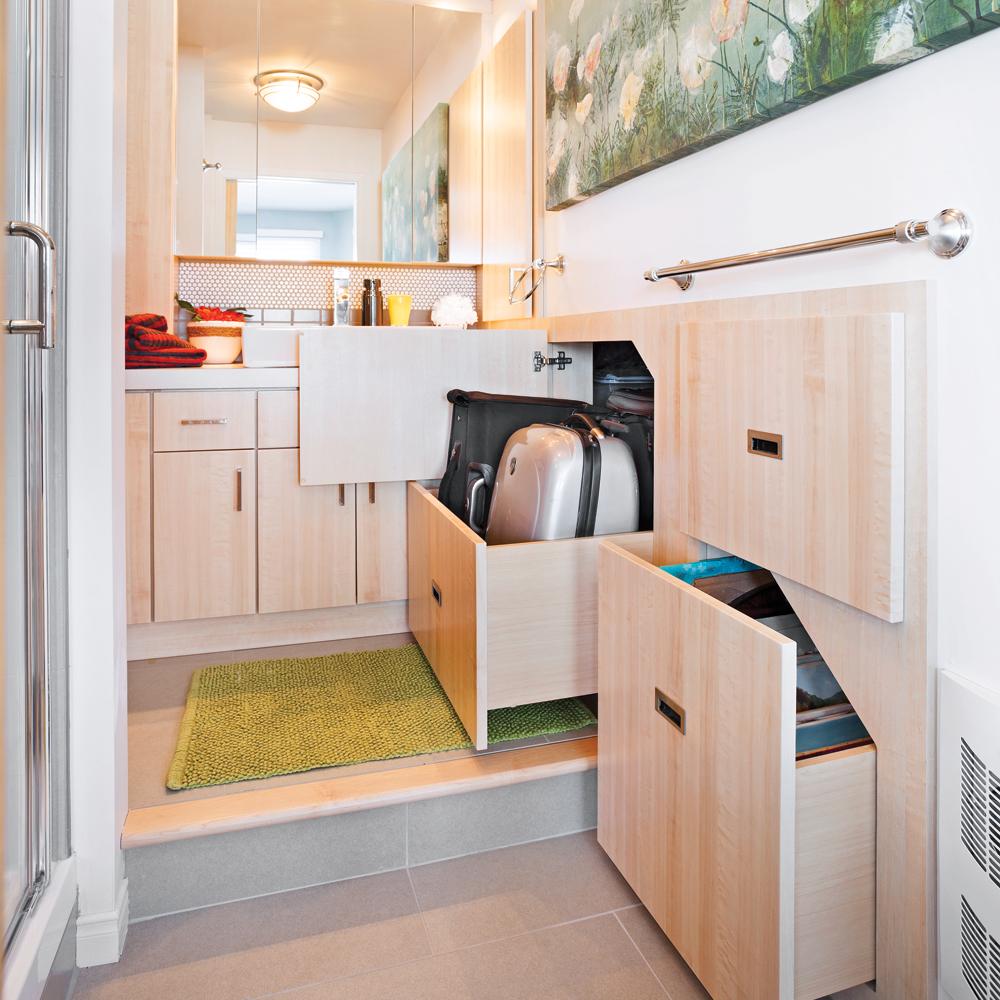 rangement profusion pour la salle de bain salle de bain inspirations d coration et. Black Bedroom Furniture Sets. Home Design Ideas