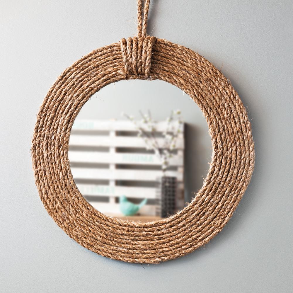 Diy miroir rustique en tapes d coration et - Miroir rond avec corde ...