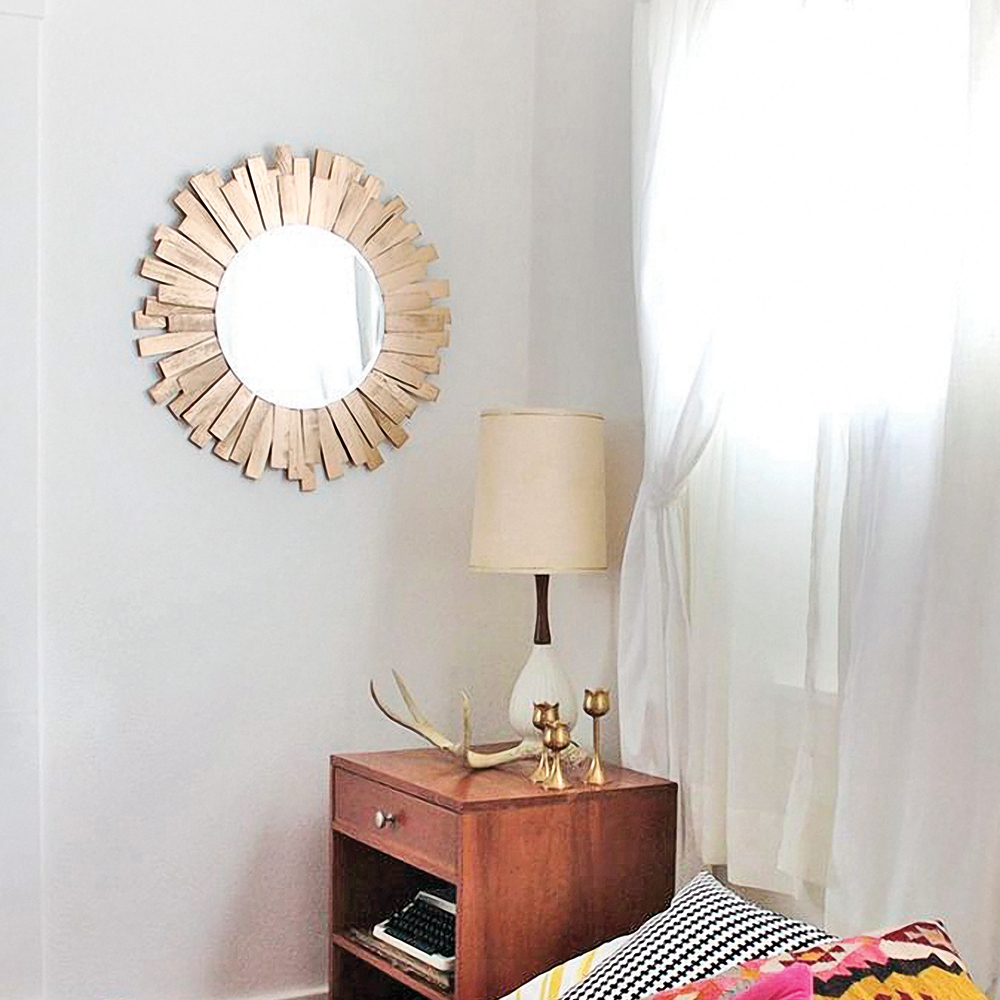 diy miroir soleil dor en tapes d coration et r novation pratico pratique. Black Bedroom Furniture Sets. Home Design Ideas