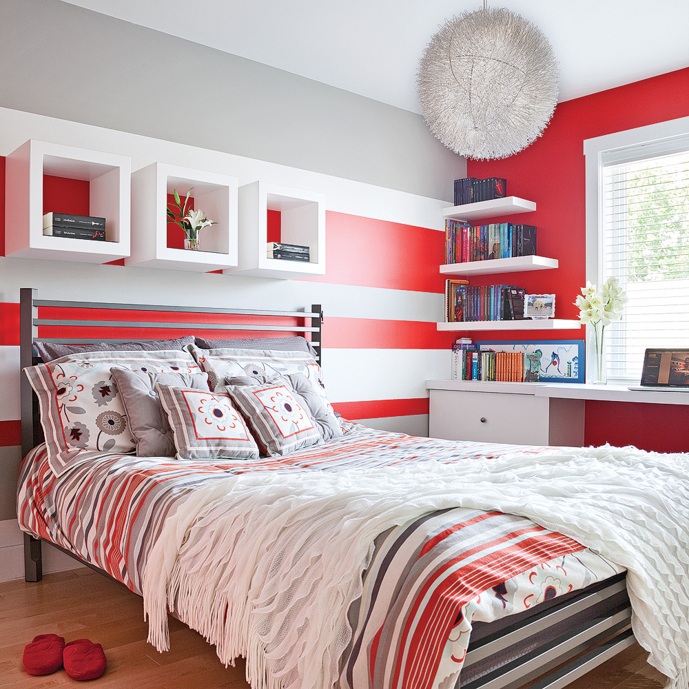color zoning en rouge gris et blanc chambre inspirations d coration et r novation. Black Bedroom Furniture Sets. Home Design Ideas