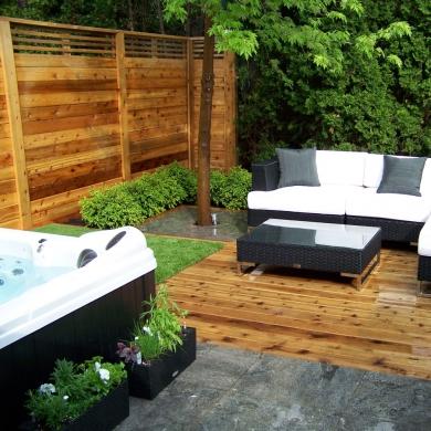 ambiance spa dans la cour cour inspirations jardinage et ext rieur pratico pratique. Black Bedroom Furniture Sets. Home Design Ideas