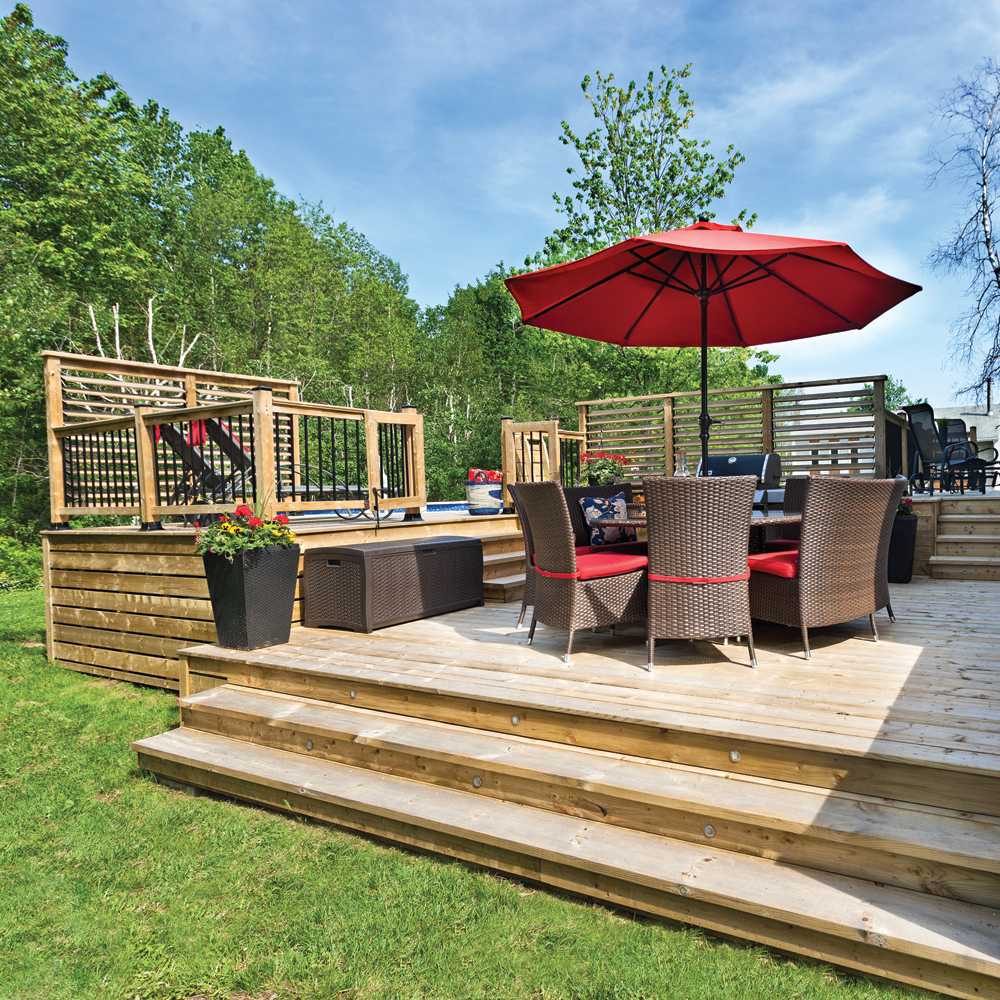 Patio paliers multiples patio inspirations for Plan de patio exterieur en bois