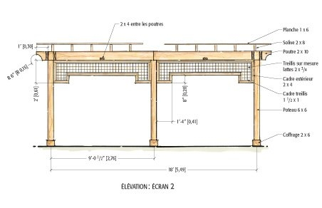 plans pour fabriquer une pergola en c dre rouge plans et patrons jardinage et ext rieur. Black Bedroom Furniture Sets. Home Design Ideas
