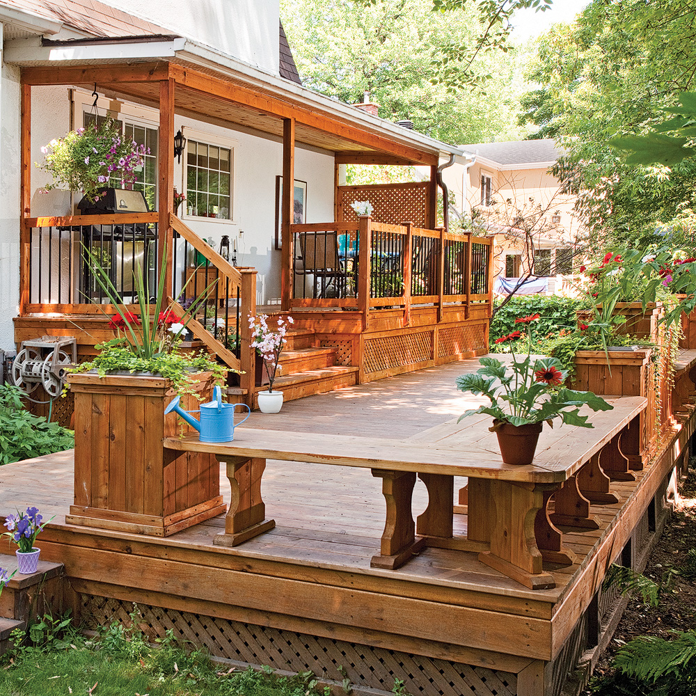Patio champ tre patio inspirations jardinage et for Patio exterieur en bois