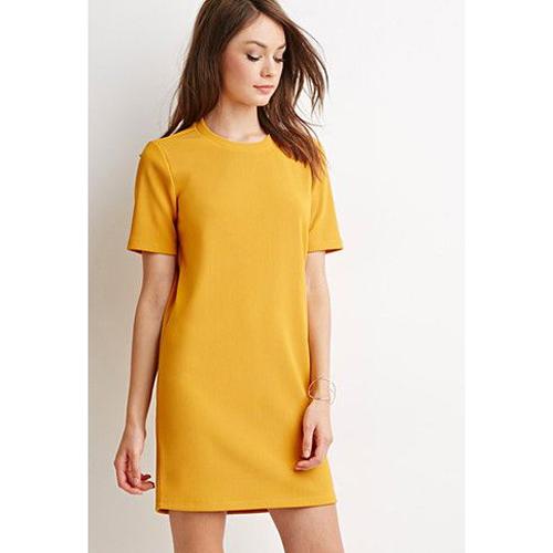 Robe droite jaune moutarde