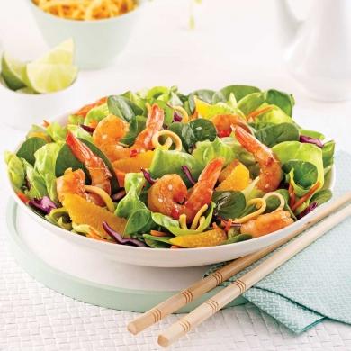 salade asiatique aux crevettes et nouilles frites recettes cuisine et nutrition pratico. Black Bedroom Furniture Sets. Home Design Ideas