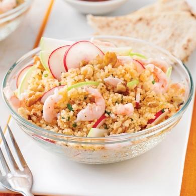 Salade de couscous aux crevettes nordiques et pomme verte recettes cuisine et nutrition - Salade verte calorie ...