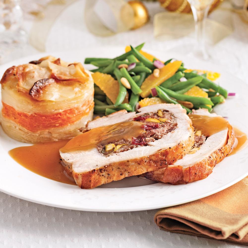 poitrines de dinde farcies aux pistaches et canneberges sauce l 39 orange recettes cuisine. Black Bedroom Furniture Sets. Home Design Ideas