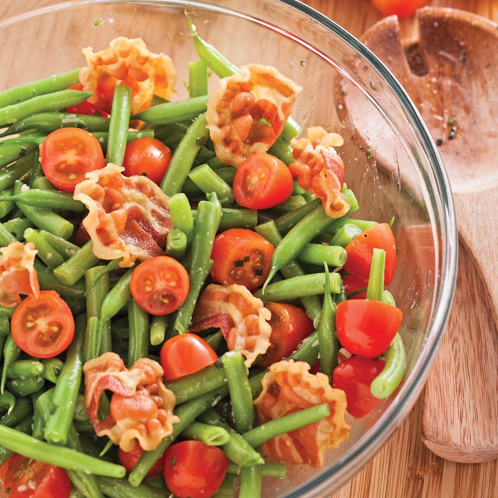salade de haricots verts et pancetta recettes cuisine et nutrition pratico pratique. Black Bedroom Furniture Sets. Home Design Ideas