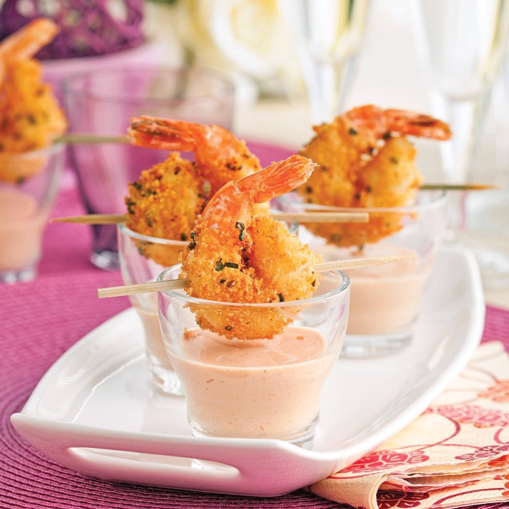 crevettes croustillantes et sauce cocktail cr meuse recettes cuisine et nutrition pratico. Black Bedroom Furniture Sets. Home Design Ideas