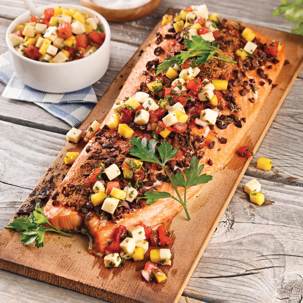 Saumon sur planche de c dre recettes cuisine et for Planche de cuisine