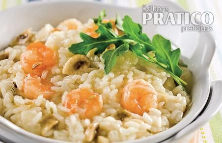 risotto aux crevettes et champignons recettes cuisine et nutrition pratico pratique. Black Bedroom Furniture Sets. Home Design Ideas