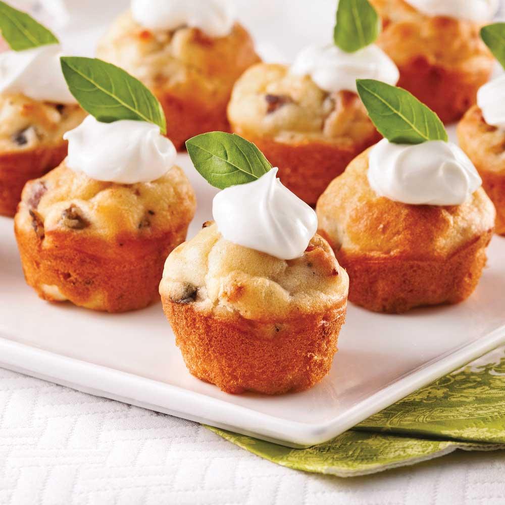 mini cakes sal s pancetta et champignons recettes cuisine et nutrition pratico pratique. Black Bedroom Furniture Sets. Home Design Ideas