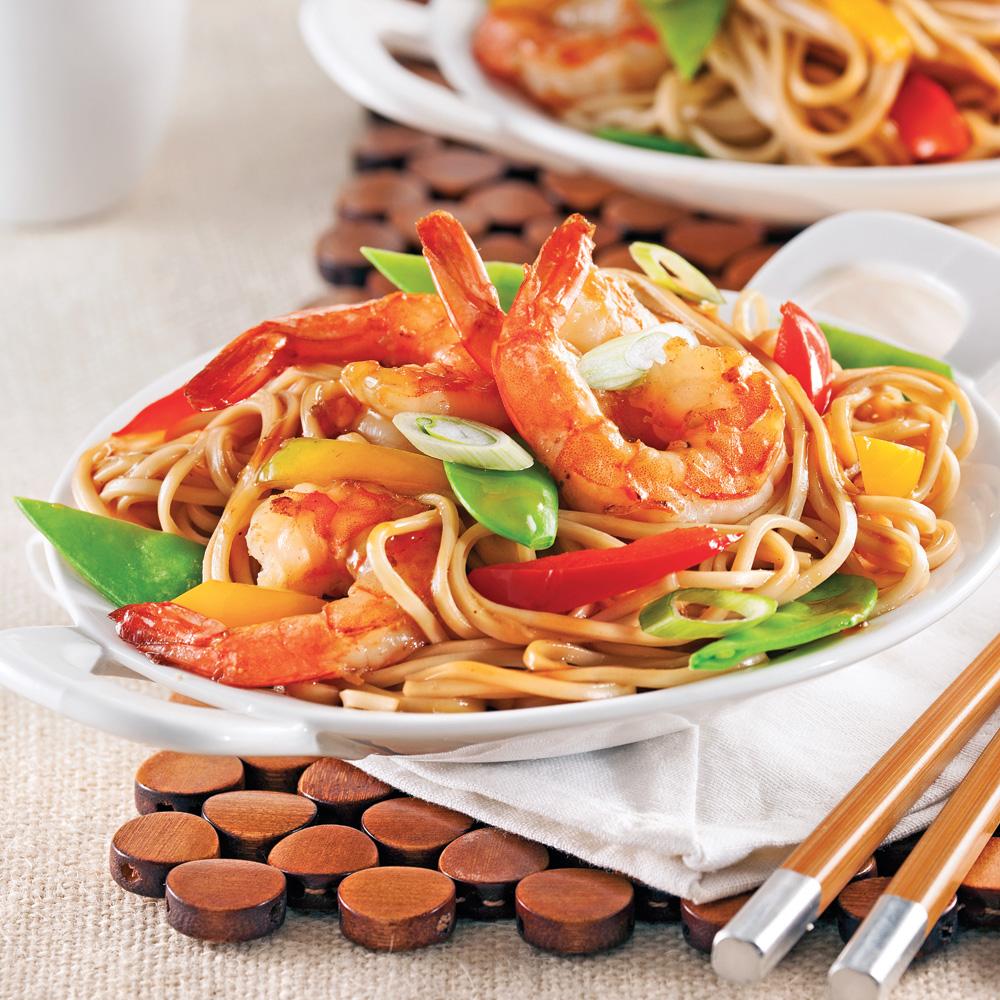Crevettes lo mein recettes cuisine et nutrition - Cuisine pratique ...