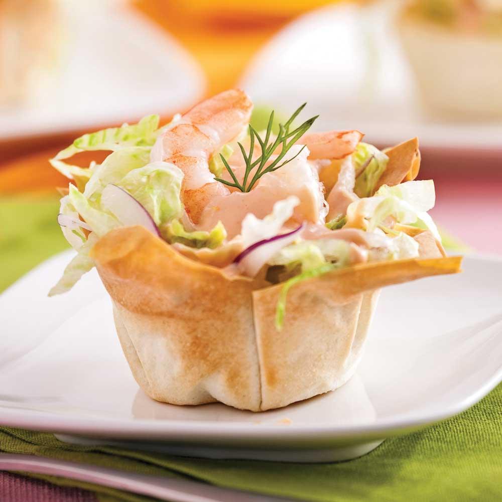 Coupelles de crevettes en salade entr es et soupes for Idee entree simple et originale