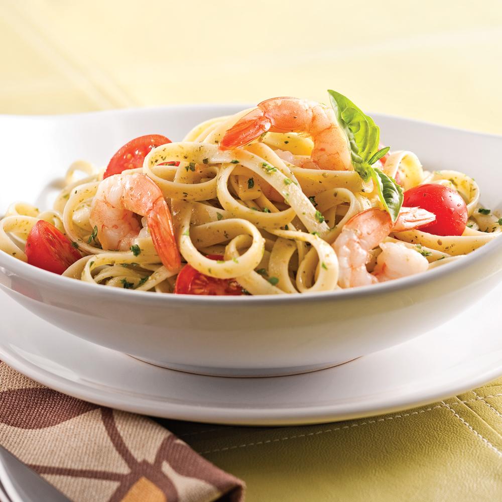 p tes au pesto de basilic et crevettes recettes cuisine et nutrition pratico pratique. Black Bedroom Furniture Sets. Home Design Ideas