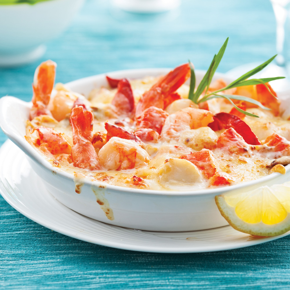 gratin de fruits de mer thermidor recettes cuisine et nutrition pratico pratique. Black Bedroom Furniture Sets. Home Design Ideas
