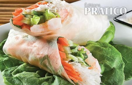 rouleaux de printemps asiatiques aux crevettes recettes cuisine et nutrition pratico pratique. Black Bedroom Furniture Sets. Home Design Ideas