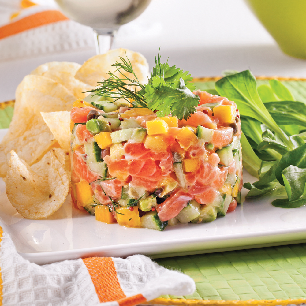 tartare de saumon mangue et avocat recettes cuisine et nutrition pratico pratique. Black Bedroom Furniture Sets. Home Design Ideas