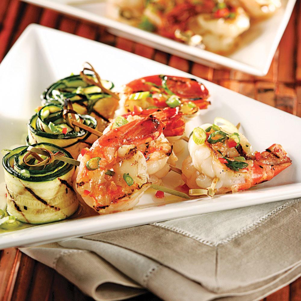 Crevettes grill es et courgettes marin es recettes cuisine et nutrition pratico pratique - Accompagnement gambas grillees ...