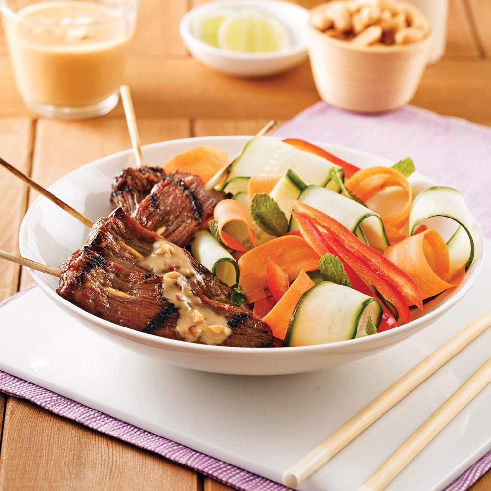 satays de boeuf, sauce à l'arachide - recettes - cuisine et