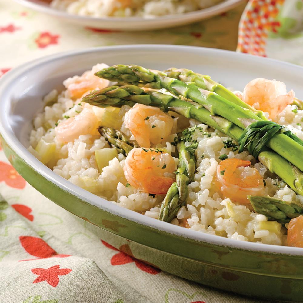 risotto aux asperges et crevettes recettes cuisine et nutrition pratico pratique. Black Bedroom Furniture Sets. Home Design Ideas