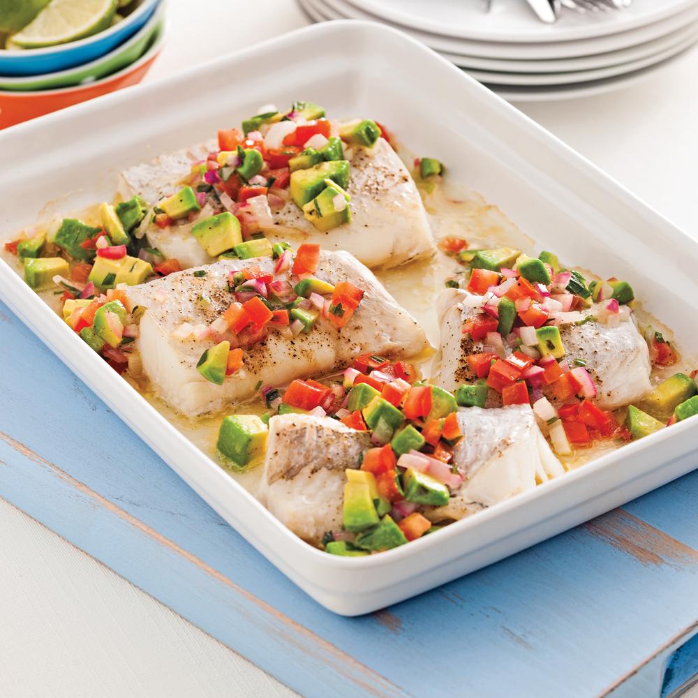 Poisson la salsa ti de de tomates et avocat recettes - Cuisiner poisson congele ...