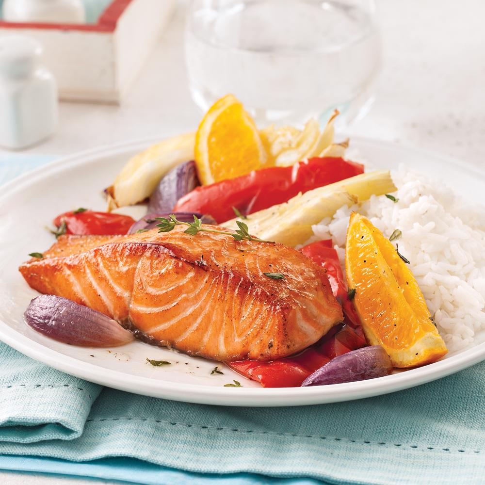 saumon l 39 orange et l gumes au four recettes cuisine et nutrition pratico pratique. Black Bedroom Furniture Sets. Home Design Ideas