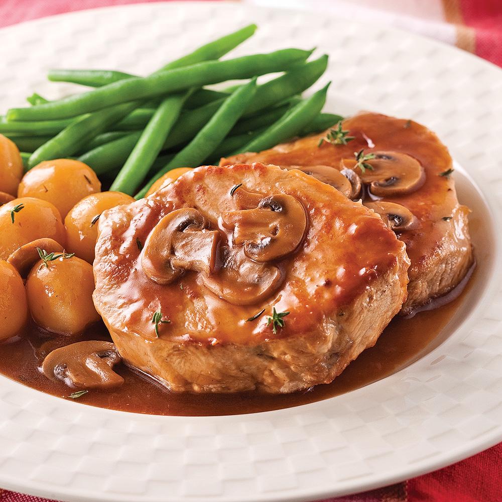 Côtelettes de porc, sauce aux champignons - Recettes ...