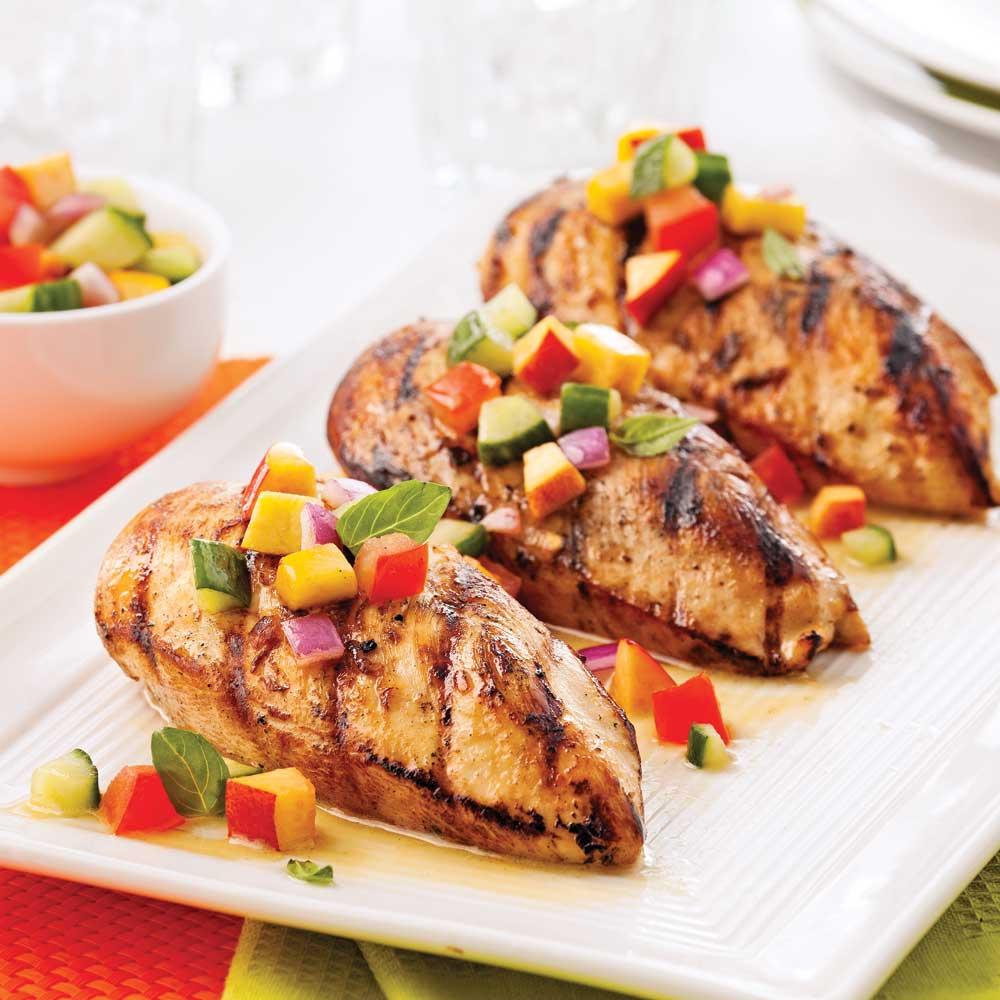 Poulet grill salsa fra che de nectarine et basilic recettes cuisine et nutrition pratico - Poulet grille au barbecue ...