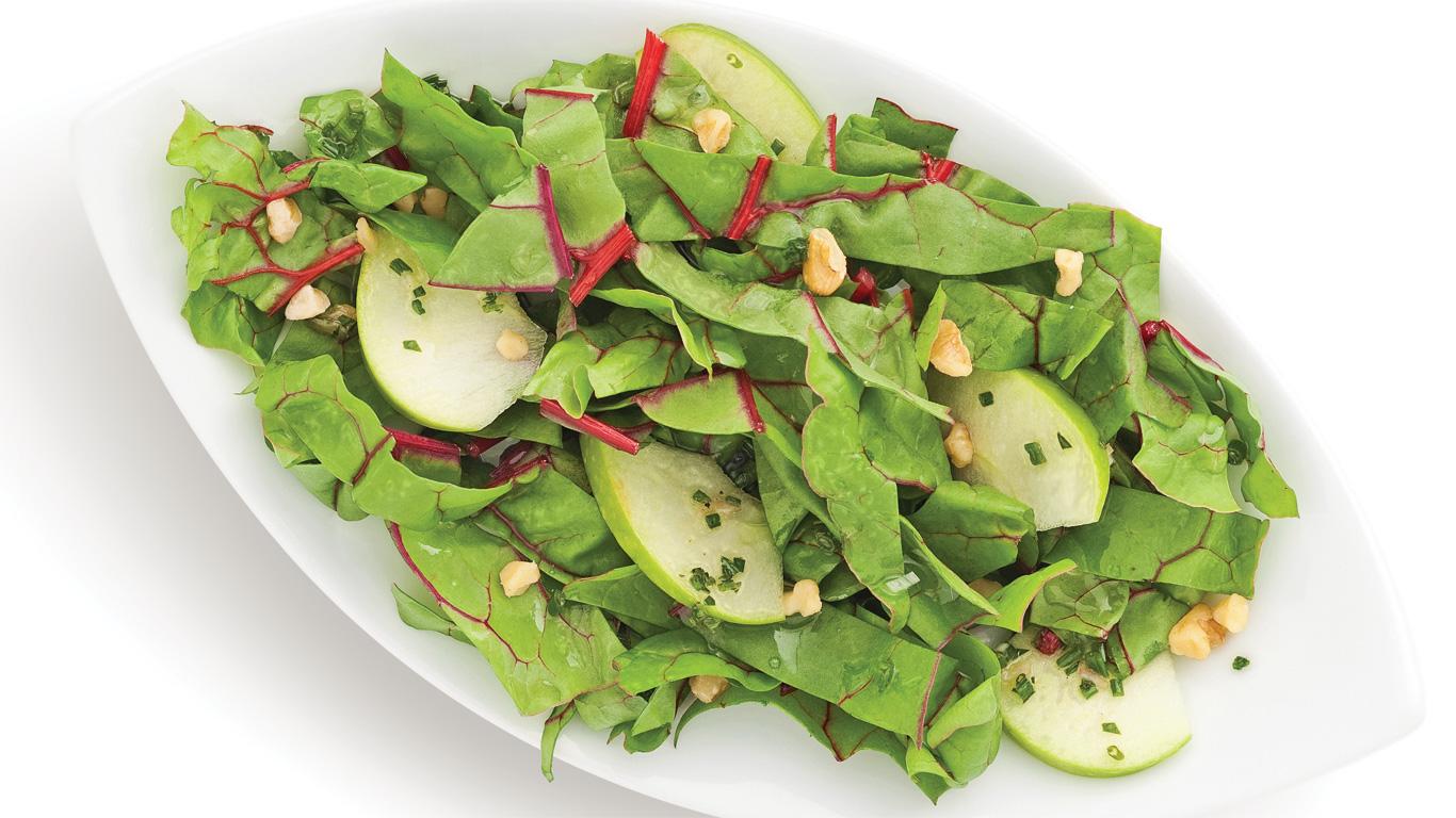 salade de mini bettes carde aux pommes et noix recettes cuisine et nutrition pratico. Black Bedroom Furniture Sets. Home Design Ideas