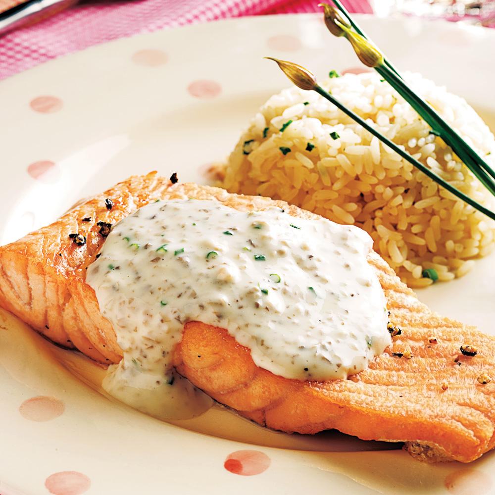 saumon au velout de champignons recettes cuisine et nutrition pratico pratique. Black Bedroom Furniture Sets. Home Design Ideas
