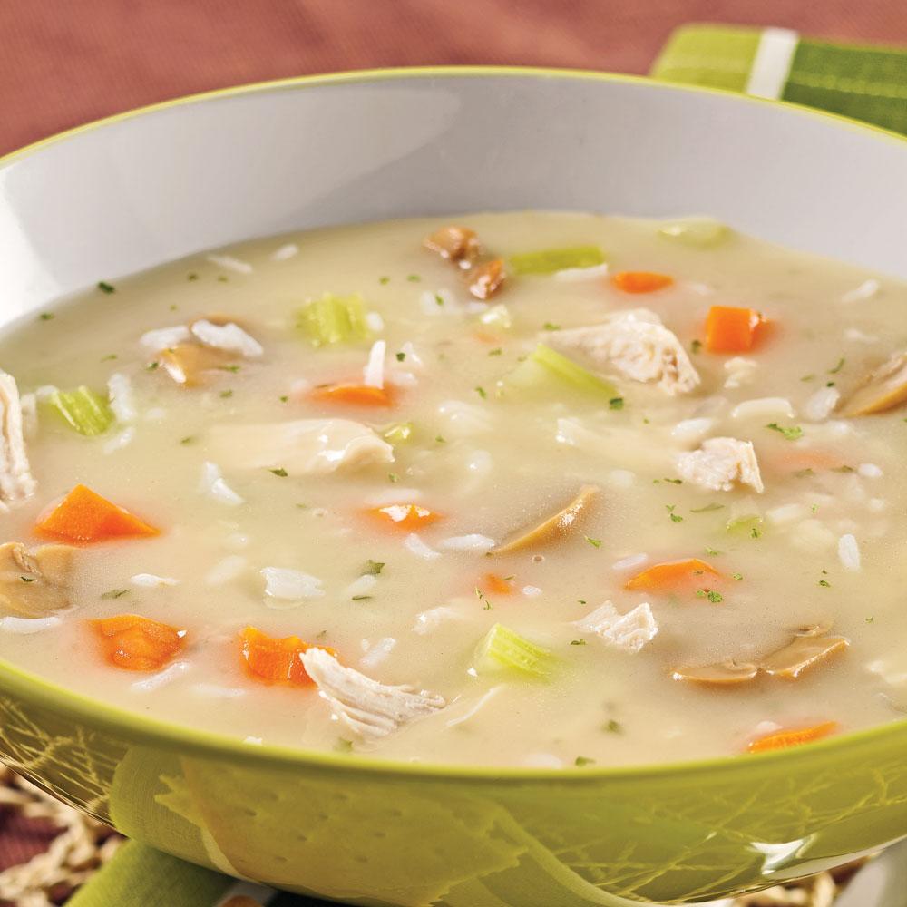 Soupe repas cr meuse au poulet et riz recettes cuisine - Soupe de legumes maison ...